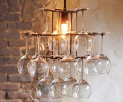 Lighting + storage of wine glasses = awesome.   (via  Wineglass Chandelier – NapaStyle )