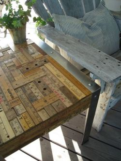 "Via  unconsumption :     Why not use vintage rulers and yardsticks to dress up an old table?   (via Beth Schaleben's  Patina White  blog)   For other ruler-repurposing ideas, see:  http://unconsumption.tumblr.com/tagged/rulers .     Today, in ""things I love."""