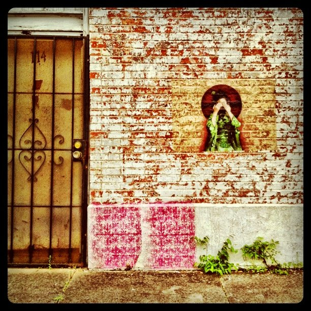 Textures. Interesting pink stamped pattern. #Houston #streetart #drivebyphotography    (Taken with  instagram )