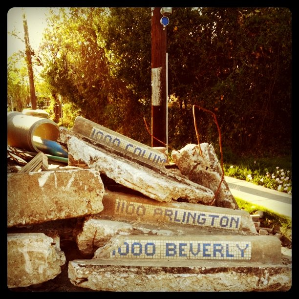 Pile o' curb pieces ripped out due to street-widening project. They're old, with street names labeled in tile on them. Would be cool if the city of Houston is saving them to reuse them. (Taken with Instagram at Lola)