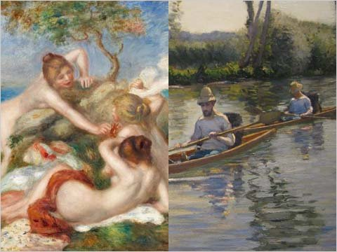 "Art museums betting on the Super Bowl!      Impressionism and the Super Bowl might seem like strange bedfellows, but they will be getting a little bro time together this year in the spirit of the game. Continuing an art tradition that began last year, the Carnegie Museum of Art in Pittsburgh and the Milwaukee Art Museum (the closest museum to Green Bay, Wisc., home of the Packers), have agreed to make a gridiron bet. If Green Bay wins, the Carnegie will send Pierre Renoir's ""Bathers with a Crab"" from the 1890s to Milwaukee as a temporary loan. If the Steelers win, the Carnegie's patrons will get a brief visit from a Gustave Caillebotte, another water-focused scene titled ""Boating on the Yerres"" from 1877. (via  Wagering Art Loans on the Super Bowl – NYTimes.com )      Last year, after the Saints' win over the Colts, the Indianapolis Museum of Art loaned a painting by J.M.W. Turner to the New Orleans Museum of Art."