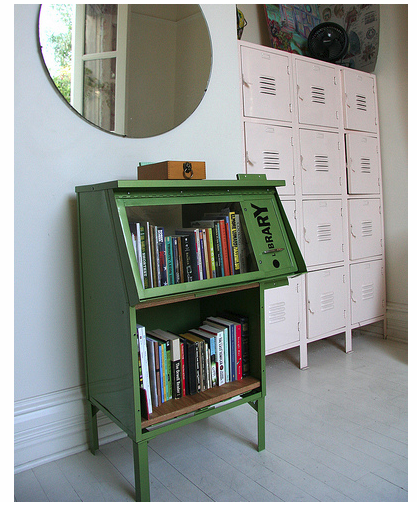 "Via  unconsumption :     Via  bookshelfporn :     Repurposed newspaper stand bookshelf.   (via  Poetic Home )      .     Love this — it's part of  Reading in Public's  work, a group based in San Luis Obispo, California, that encourages the art of reading.      About Reading in Public:       Reading In Public (RIP!) was formed to celebrate the written word by way of community performance in public spaces. The project began as a response to the shifting landscape in publishing, and the realization that more and more of us are  writing  in public, as bloggers and tweeters, for instance. Similarly, we sought to broadcast words in public, through the simple act of contemplative reading on a noisy street corner, or as performance, with readers directly engaging onlookers.       About the  book rack :        Library! is an abandoned newspaper rack, repurposed into an informal traveling book and culture exchange within the city of San Luis Obispo, a venue for creative readers who care that reading not become a lost art.       Readers of all ages will be able to find books, magazines, sketchbooks, or an actual piece of book art, and borrowers are encouraged to leave an item for lending. Each piece will have a library card documenting its travels. When a reader checks a piece out, they're asked to sign the card and leave those in a box located on top of the rack. We welcome creative annotation to all the art pieces, and we encourage personal notes in the books left by readers.         Related: Unconsumption  post  about a used book exchange/swap housed in a repurposed phone booth.        Today in ""things we love."" Also: Bookshelf-of-the-week – on a Monday!"