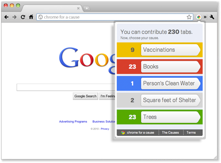 Via  aquariumdrinker :      Chrome for a Cause : Google rolls out Chrome for a Cause today. The program will run from Dec. 15-Dec. 19 and is pretty simple. For every tab you open Google will donate money to one of five charities. At the end of the day, you choose which charity you want to donate. Of course, I'd encourage everyone to donate their tabs to The Nature Conservancy.    It also is a good way to keep track of your online activity. I've been online for about an hour now and I've already opened 29 tabs. That's what? One every 30 seconds?     I'm also down for this. Hello, my name is Molly, and I have a tab/browsing problem.