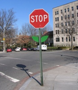 Via inothernews: Stop sign as flower, by artist Mark Jenkins.  Miniatures for sale, of course.  I love it. (via BoingBoing)
