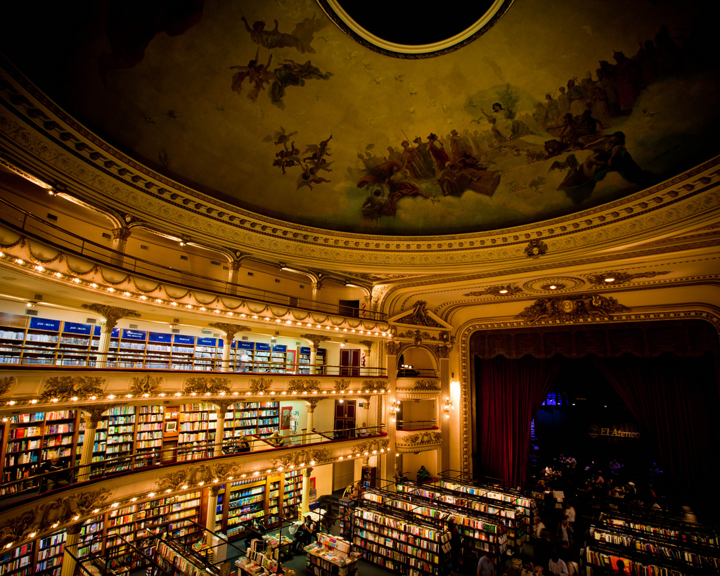 Via  keiren-smith :      youwillbeassimilated :      Via   bookshelves :     El Ateneo Grand Splendid bookstore in Buenos Aires, Argentina. Converted from a theatre.       Oh.Oh.Oh. I want to go to there.     Bookshelf-of-the-week.
