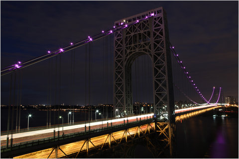 In honor of National Breast Cancer Awareness Month, the 156-light necklace of the George Washington Bridge will shine pink for the month of October.   (via  Bridge Goes Pink for Breast Cancer Awareness - NYTimes.com )