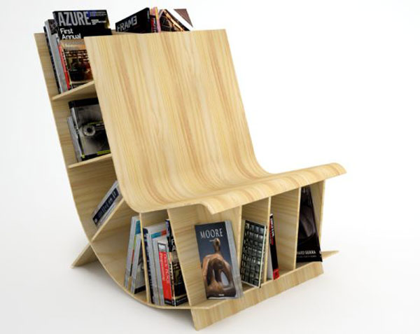 Via  pratt :      Unconventional Chair and Miniature Bookcase      Bookseat, designed by Toronto-based  Fishbol .