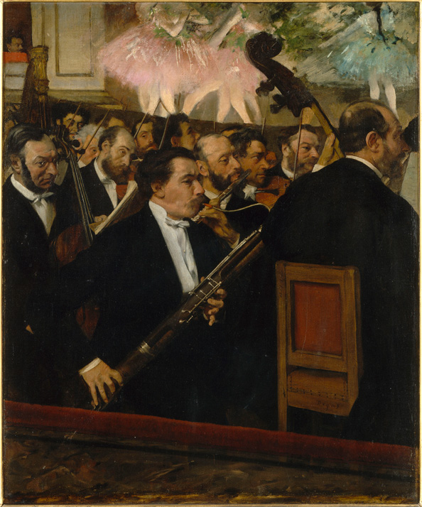 "artgalleryofontario :      Edgar Degas   L'Orchestre de l'Opéra  1870, oil on canvas Paris, Musée d'Orsay    Click here to learn more.      Happy start of ""Classical Music Month""!   (And thanks to whomever deemed September as such!)"