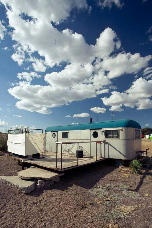Via unconsumption: Five restored travel trailers (+ teepee & yurts) = El Cosmico Boutique hotel. Marfa, Texas.