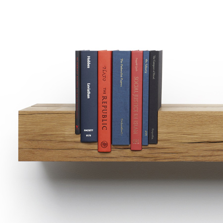 Via  pratt :     San Francisco designers Mike and Maaike have created a shelf with slots specifically cut to house seven seminal books about power and society. (via  Juxtaposed: Power by Mike and Maaike – dezeen.com )     Additional examples of their work can be found  here