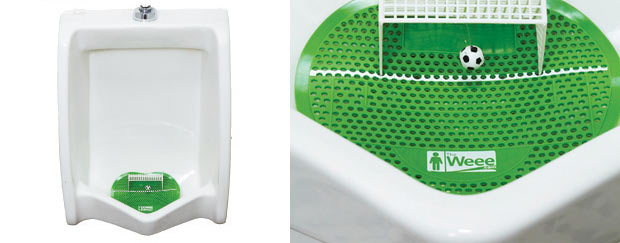 "Marcel Duchamp would have a field day with this item …   Via  murketing :     ""To keep yourself entertained during bathroom breaks, The Weee urinal mat also keeps bathrooms cleaner by encouraging good aim."" Part of the comprehensive  World Cup 2010 on Cool Hunting"