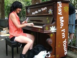 "Reposting my  unconsumption  post (I  love  this project):      Sing for Hope , a New York-based non-profit organization that promotes arts accessibility, will install  60 donated (used) pianos  in New York City parks and other public spaces next month. The ""street pianos"" are part of "" Play Me, I'm Yours ,"" an international public art project created by British artist   Luke Jerram. Jerram describes the project as ""a blank canvas for everyone's creativity.""          Pianists and passers-by will be able to post photos and videos to     streetpianos.com/nyc2010 ,  which features maps showing the piano locations and additional information about the project.       After the project ends in July, Sing for Hope will donate the pianos to area schools and community centers.        The Street Pianos Are Coming! New York's Latest Public Art Experiment – The Village Voice blogs       Additional information – Pianos as Public Art, and the Public's Playthings (NYT, June 15)"