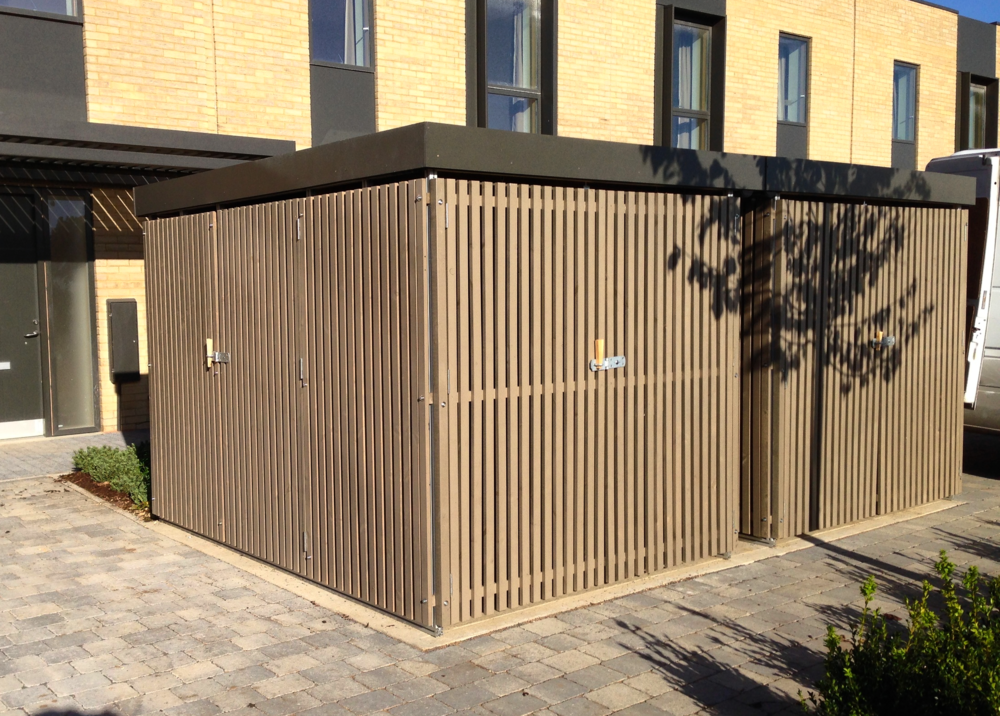 Two bin and bike storage unit installed in Cambridge for Countryside Properties