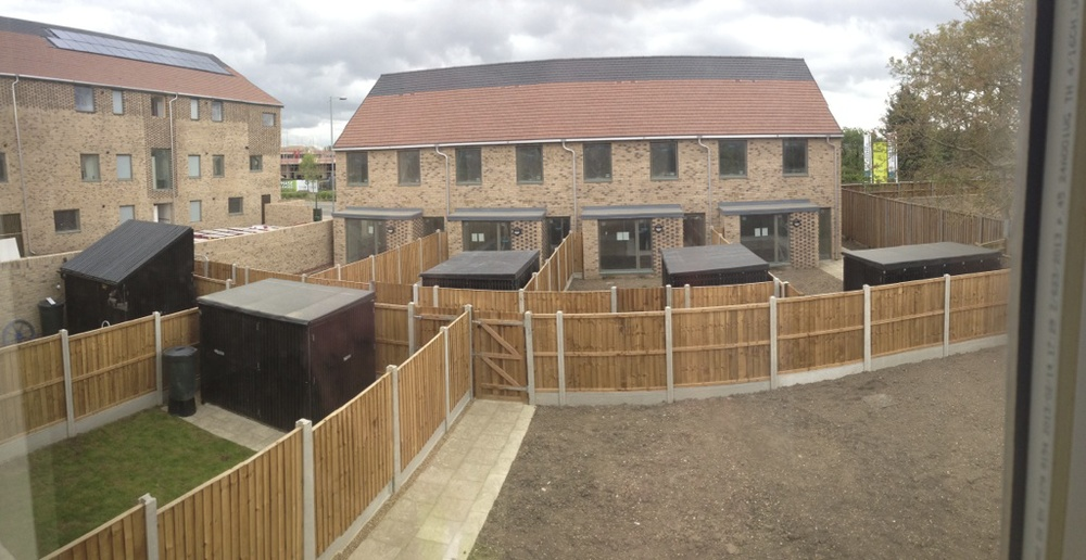 Five bin and bike storage units installed in Cambridge for Countryside Properties - Examples of an alternative design.