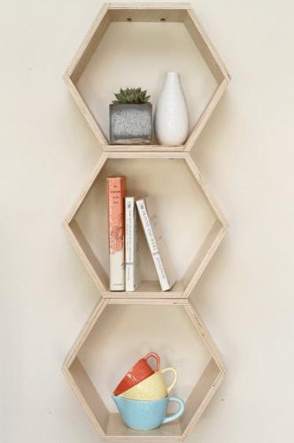 Vertical shelving helps keep floor space open (Photo: Wicker Paradise)