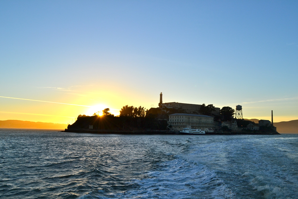Sunset, Alcatraz, San Francisco, California.