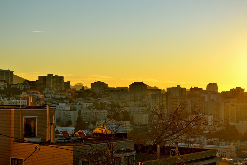 Sunset, Russian Hill, San Francisco, California.