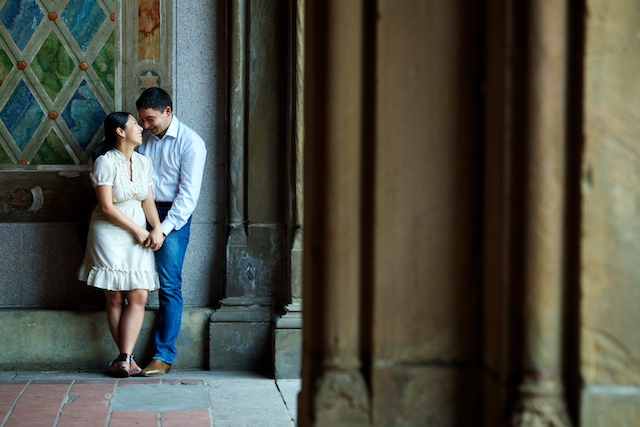 wedding couple under arches of Bethesda Fountain