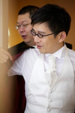 Hong Kong groom getting ready