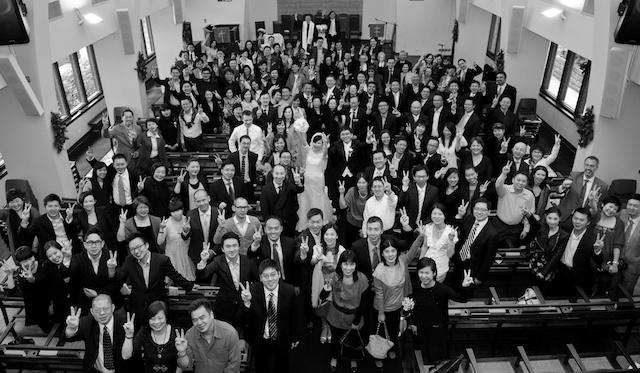 Union Church wedding, group photo