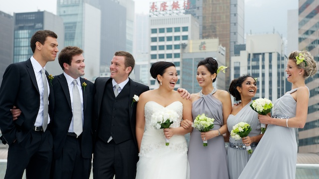Hong Kong wedding party on IFC rooftop