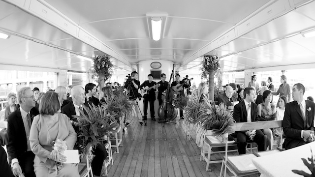 wedding guests on hong kong star ferry