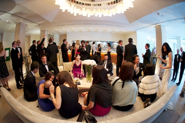 london wedding cocktail reception wide fisheye
