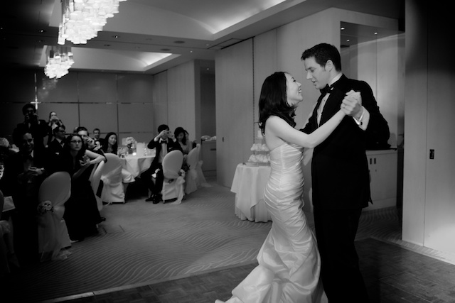 london dinner reception japanese bride german groom first dance