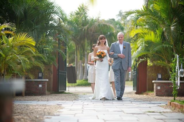Hong Kong Wedding one-thirtyone outdoor bride father of bride walking down aisle