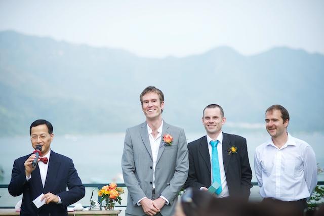 Hong Kong Wedding one-thirtyone outdoor groom groomsmen best man pastor smiling