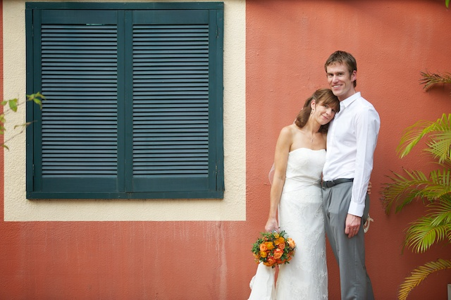 Hong Kong Wedding portrait session outdoor bride and groom window