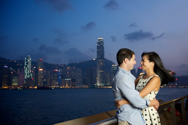Hong-Kong-Engagement-Session-Outdoor-Portrait-Tsim-Sha-Tsui-Bride-and-Groom-Waterfront-Harbour-View