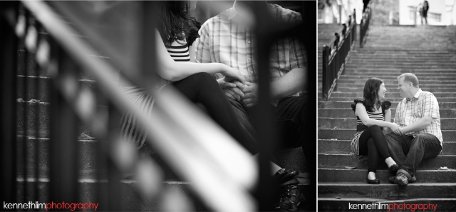Hong-Kong-engagement-session-portraits-couple-soho-sitting-stairs-outdoor-groom-bride-smiling