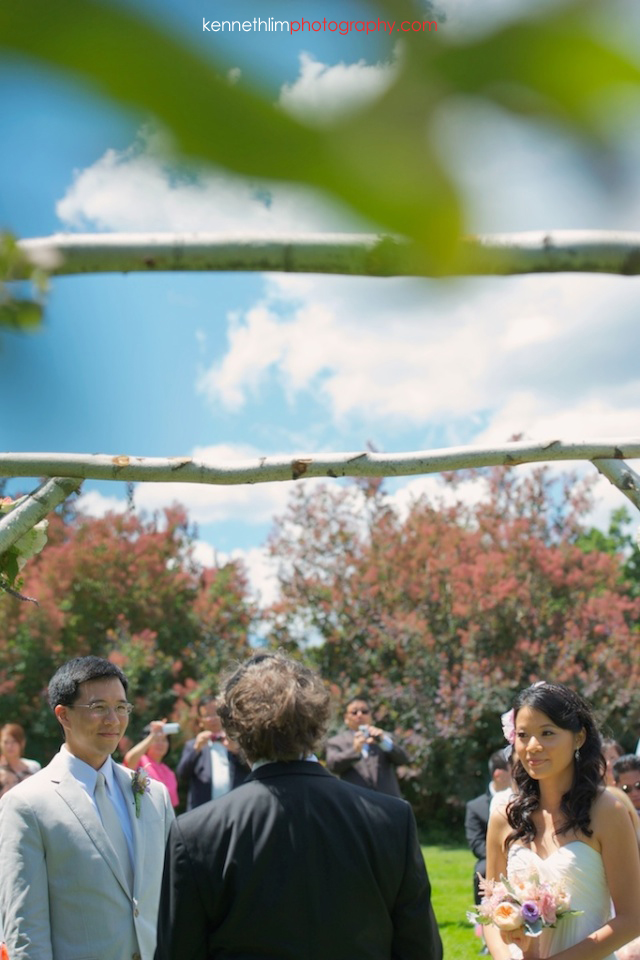 New York wedding outdoor ceremony groom bride vow exchange