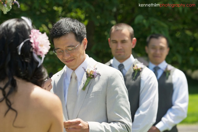 New York wedding outdoor ceremony groom giving vow exchange