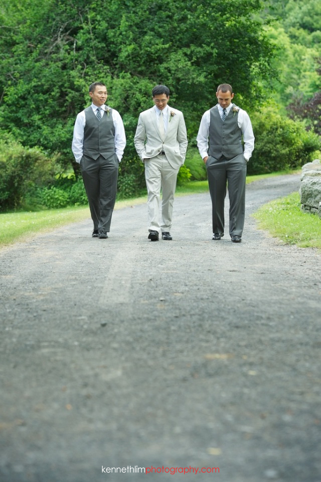 New York wedding outdoor groomsmen portrait walking
