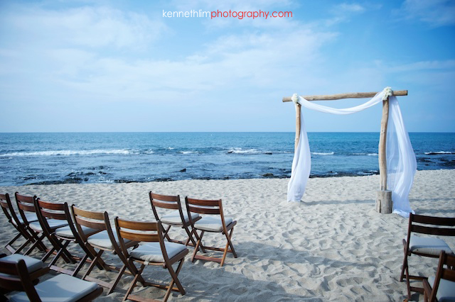 Kona Hawaii US Wedding outdoor beach ocean alter