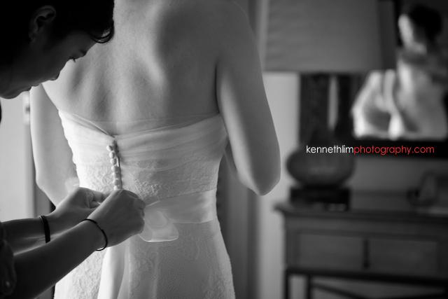 Kona Hawaii US Wedding outdoor bride getting ready back gown