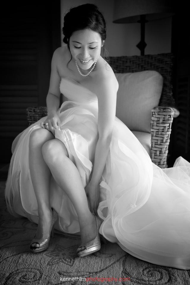 Kona Hawaii US Wedding outdoor bride getting ready putting on shoes
