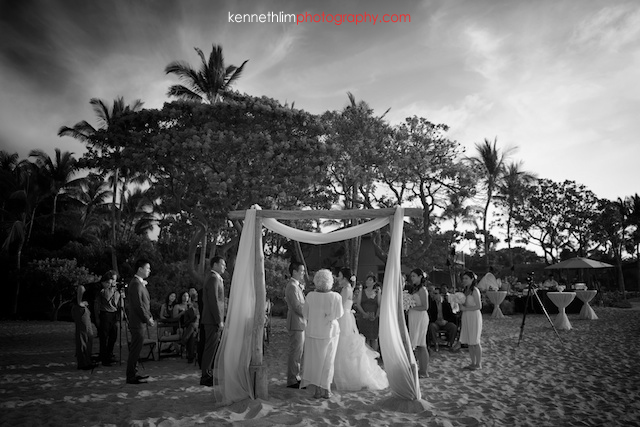 Kona Hawaii US Wedding outdoor ceremony bride and groom black and white