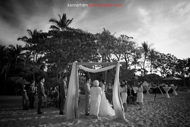 Kona Hawaii US Wedding outdoor ceremony bride and groom black and white