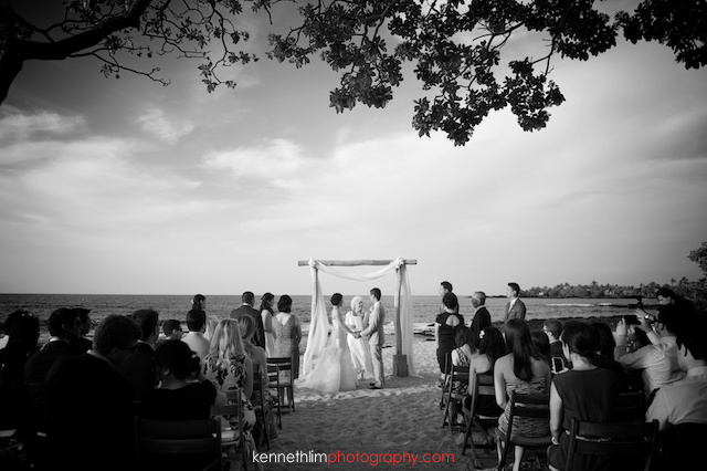 Kona Hawaii US Wedding outdoor ceremony bride groom holding hands black and white