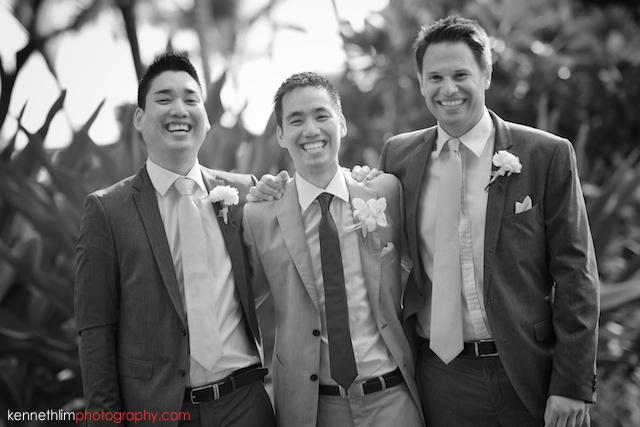 Kona Hawaii US Wedding outdoor groom groomsman portrait session black and white