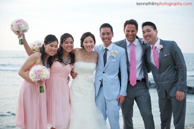 Kona Hawaii US Wedding outdoor portrait session bride groom bridesmaids groomsman just married