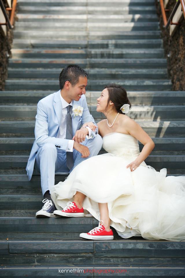Kona Hawaii US Wedding outdoor portrait session bride groom sitting on steps