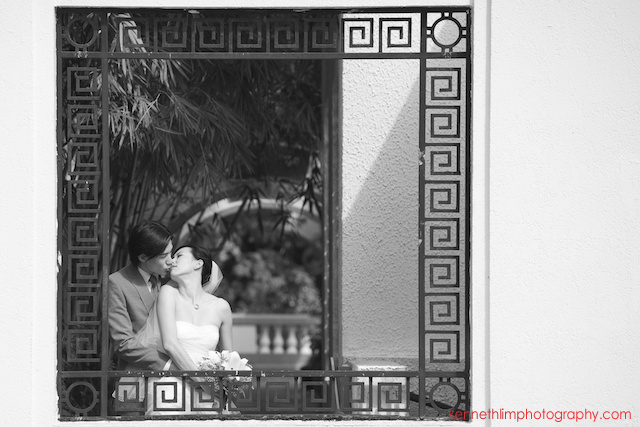 Hong Kong The Verandah wedding outdoor bride groom kissing portrait session