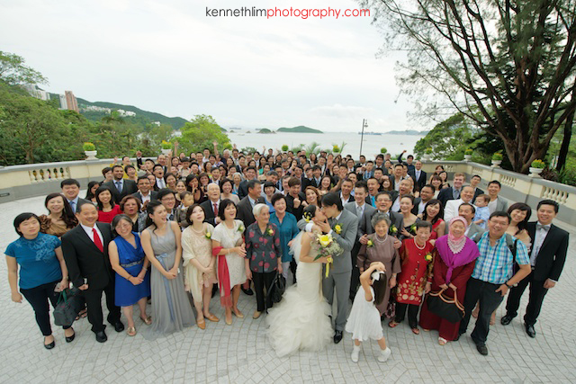 Hong Kong The Verandah wedding outdoor group shot guests
