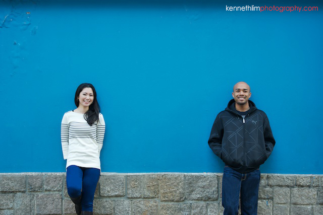 Hong Kong Midlevels engagement photoshoot session portraits couple in front blue wall