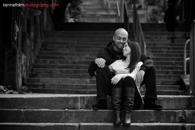 Hong Kong Midlevels engagement photoshoot session portraits couple sitting on stairs black and white
