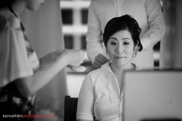 Hong Kong The Peninsula wedding bride getting ready make up